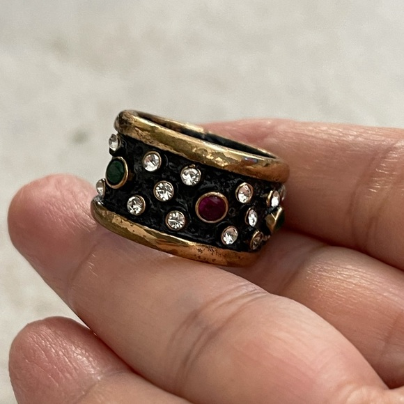 Diamanté rhinestone wide band ring